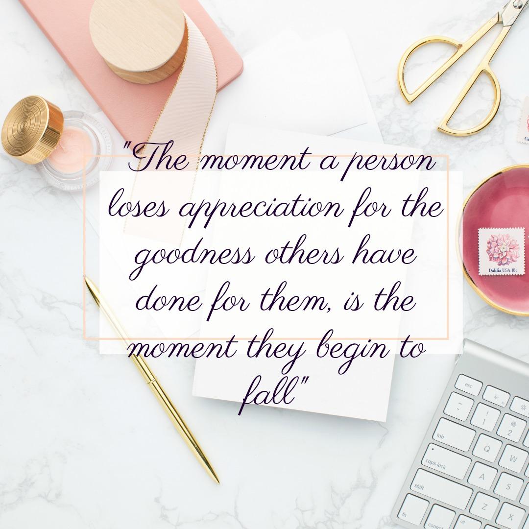 The time a person loses appreciation...